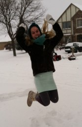 jumping in the snow
