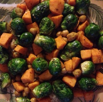 sweet potato brussels sprouts and chickpea quinoa bowl